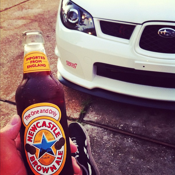 Having a cold one after getting her out of the body shop. she's always needed attention. #beer #Newcastle #England #subaru #wrx #sti #soob #brembo #houston #texas #sunset #Mosquitos #aspen #white #love #passion #goodshit #delish #nasioc