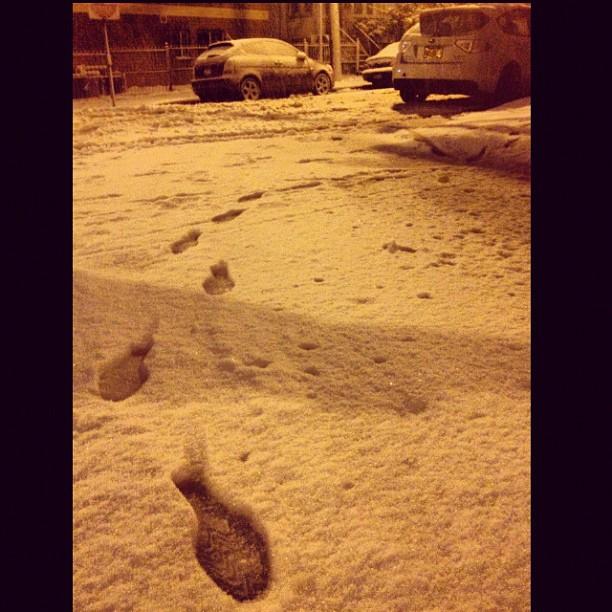 ispy #newyork #brickcity #snow #footprints #subaru #wrx #whiteonwhite